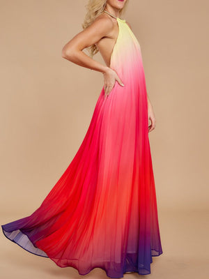 Colorful Chic Women Maxi Dress Backless Ombre Chiffon Maxi Dress