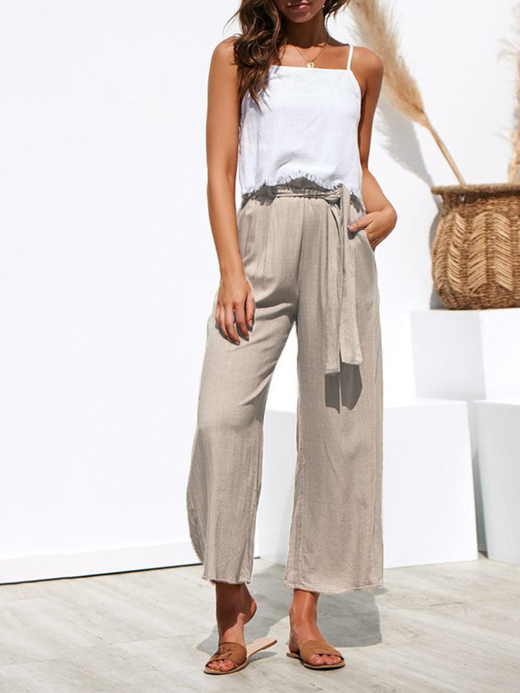 Lace- up Wide Leg Casual High Waist Solid Pants