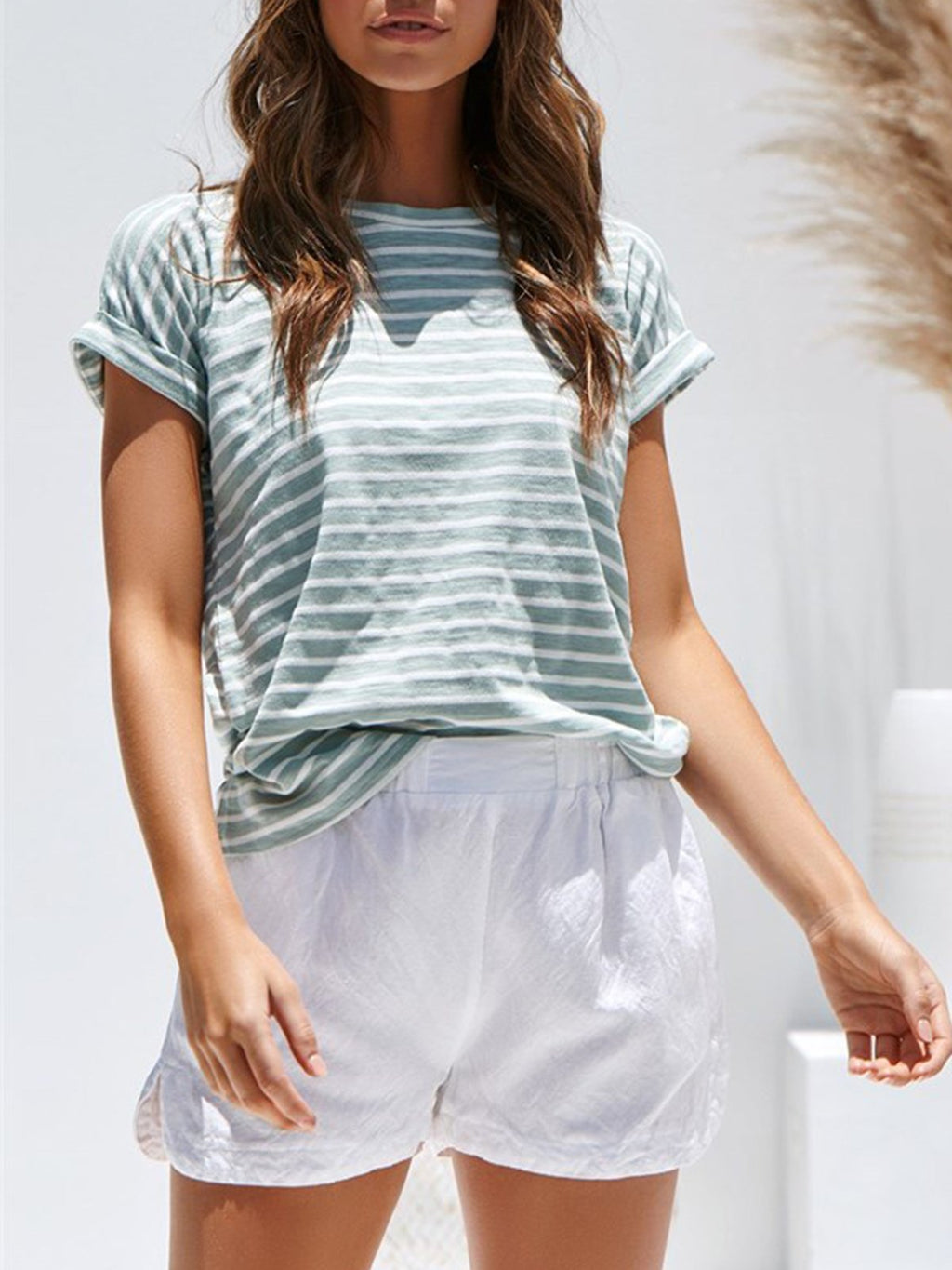 Round Neck Short Sleeve Stripe T-Shirt