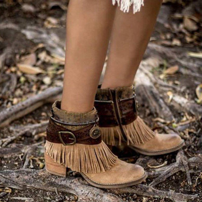 Brown Suede Winter Tassel Daily Boots