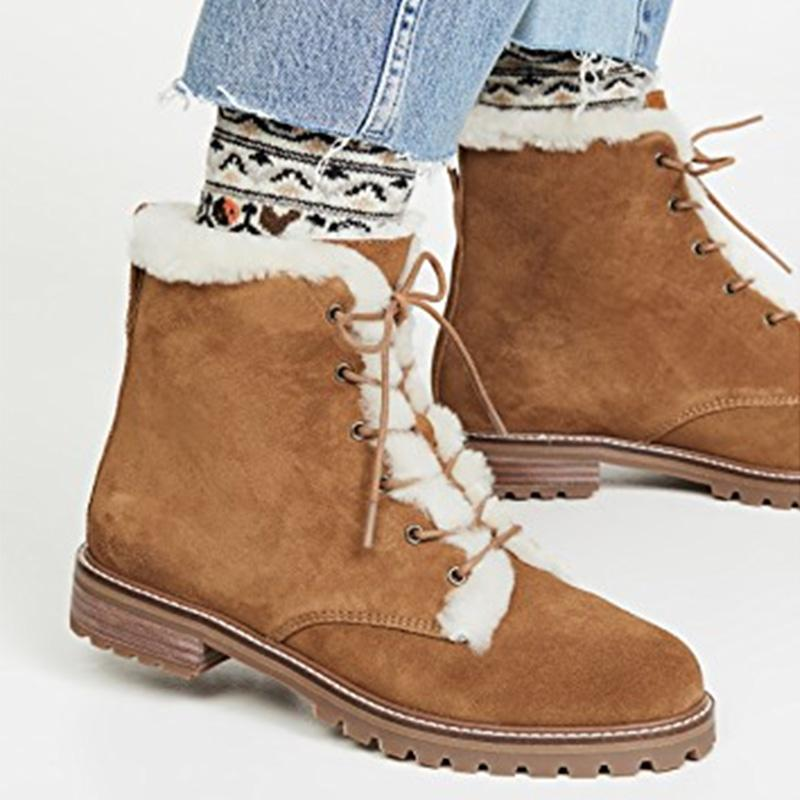 Camel Fur Colloars Suede Martin Boots