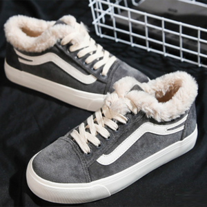 Casual Canvas Shoes With Fluff Velvet and Warm Sneakers