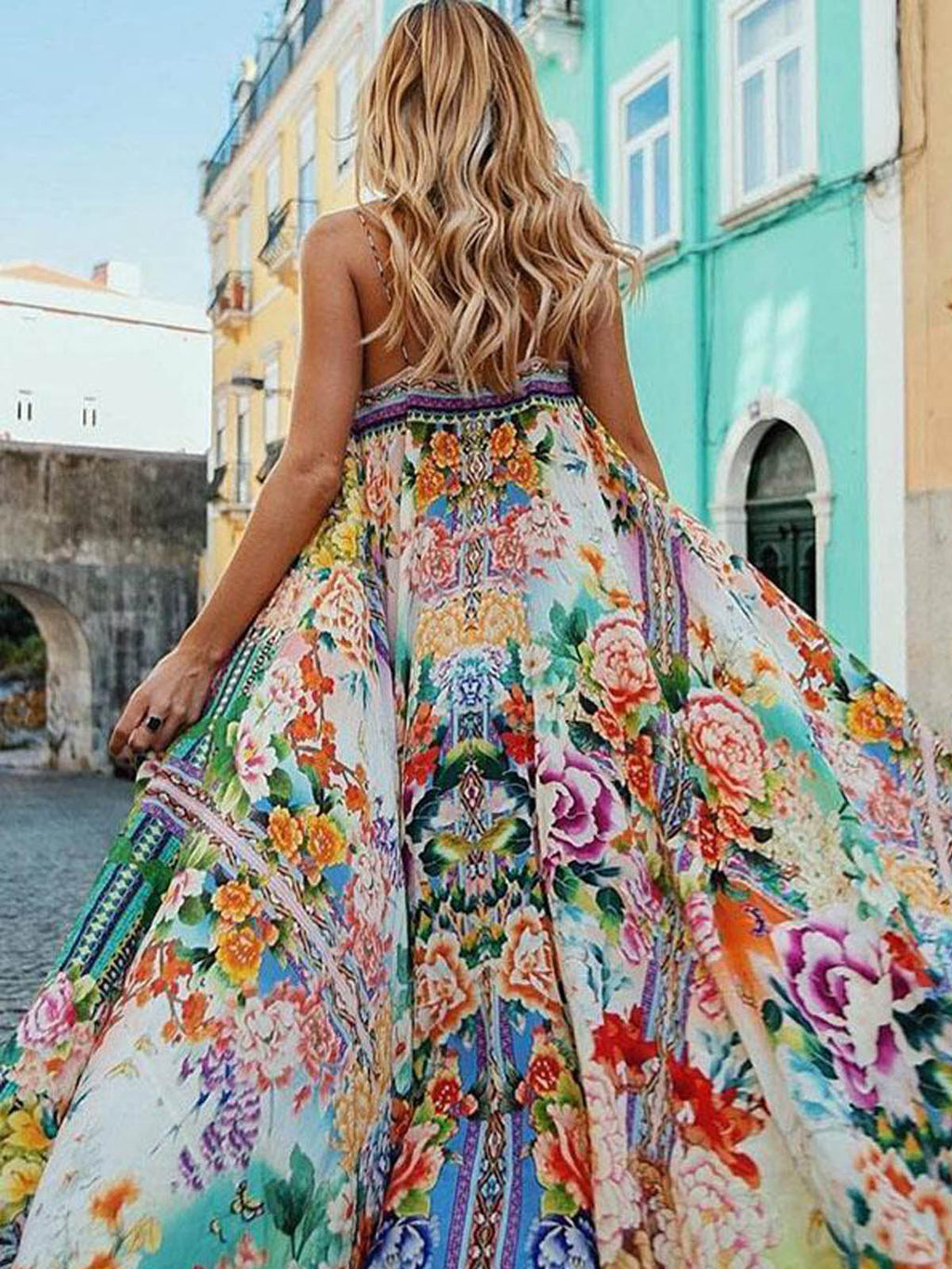 Beach Style Dress Floral Spaghetti-neck Boho Maxi Dress