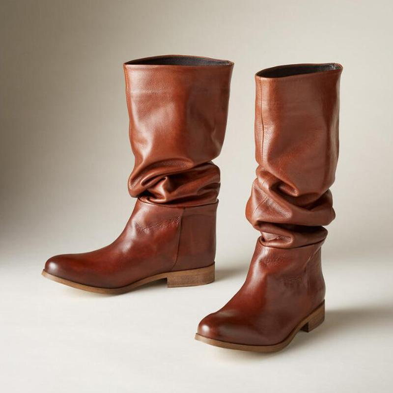 Slouch and Low Stacked Mid-calf Boots