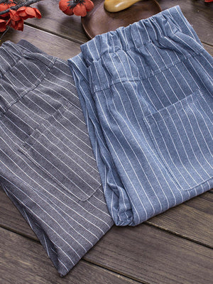 Women Simple Striped Vintage Linen&cotton Pants