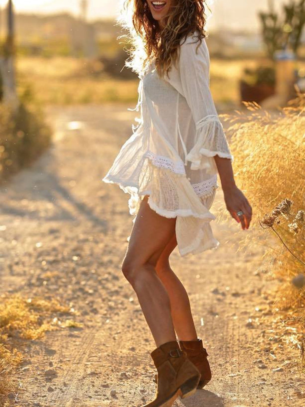 White Irregular Lace Beach Mini Dress