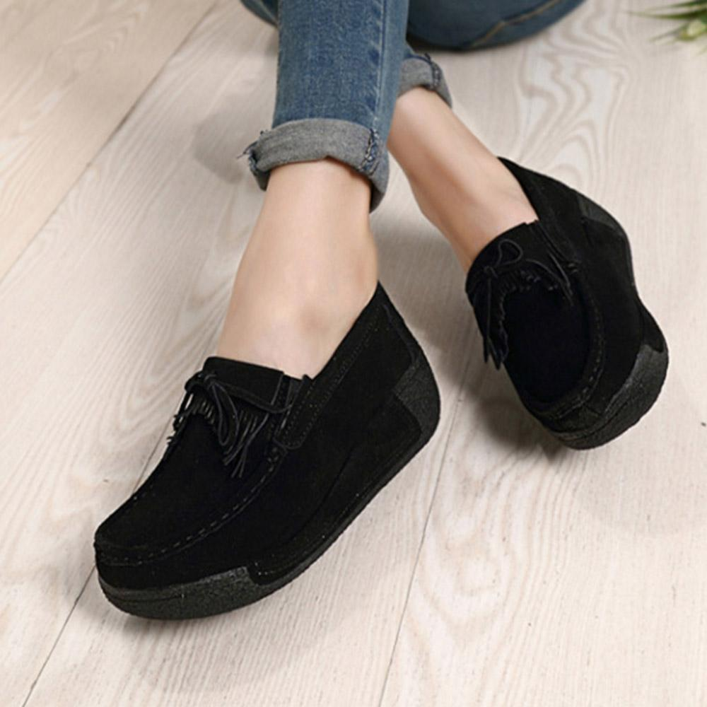 All Season Suede Platform Shoes Bowknot Casual Fringed Loafers