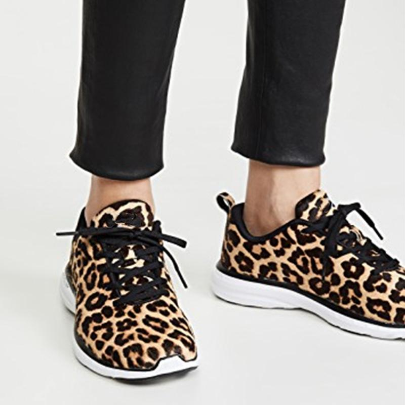 Leopard Print Fur Lace-up Sneakers
