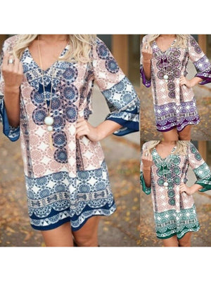 V Neck Bohemia Printing Casual Women Dress
