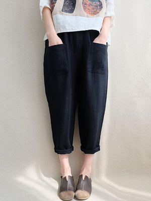 Pockets Plus Size Solid High Rise Pants