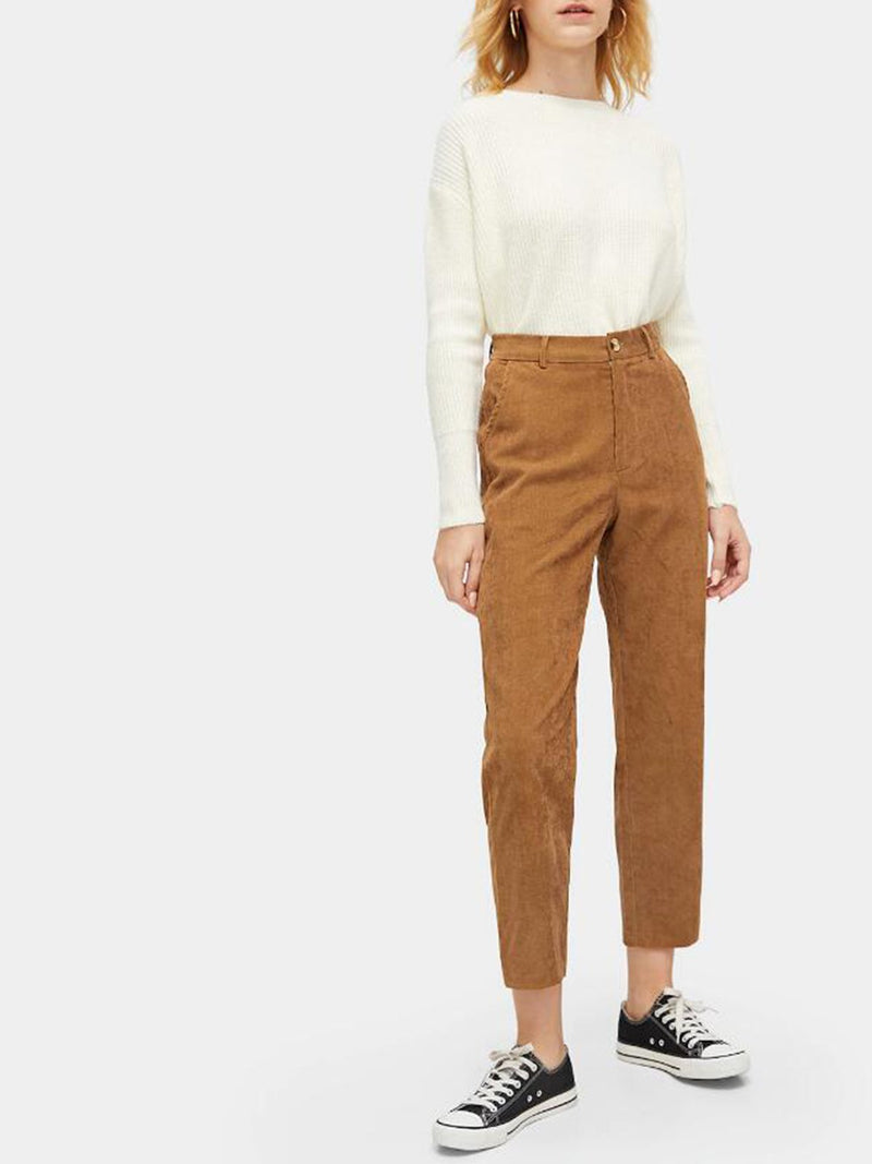 Button Waist Pocket Side Corduroy Pants