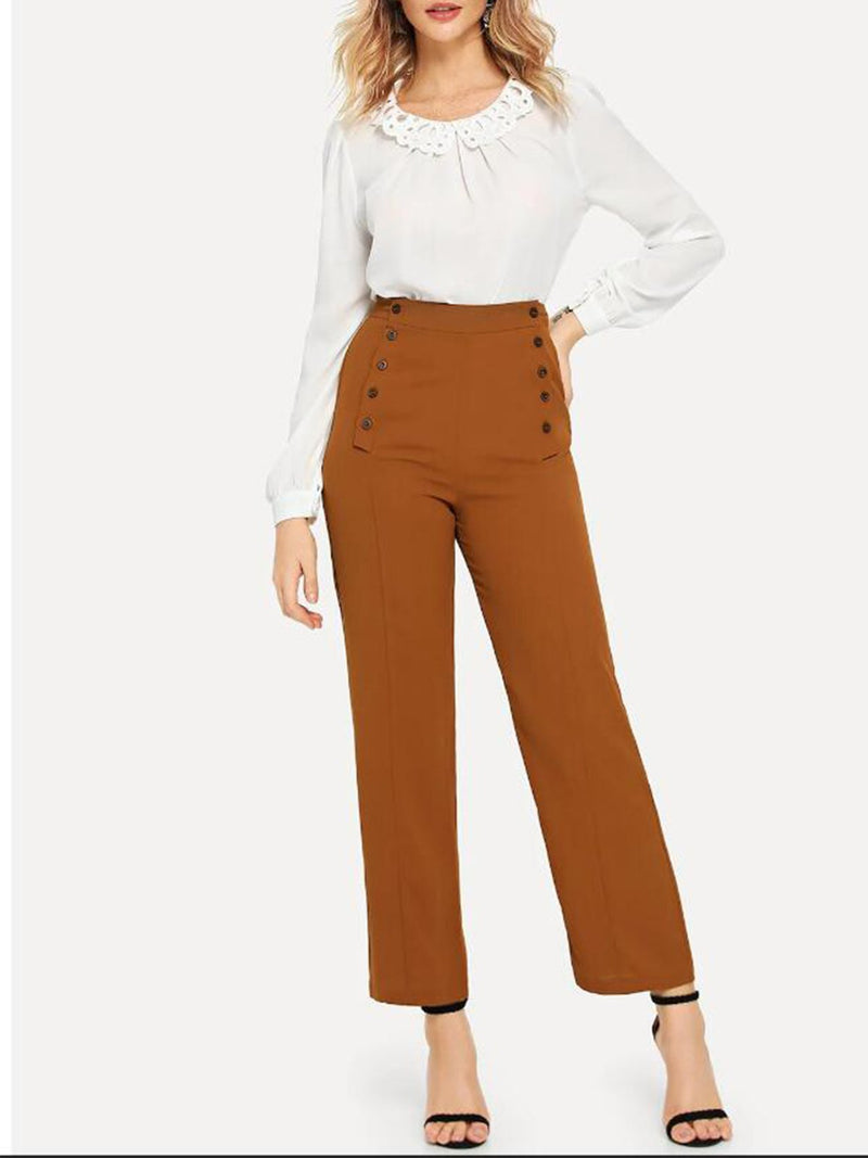 Button Detail Solid Pants