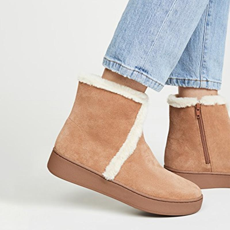 Brown Plain Faux Fur Ankle Boots