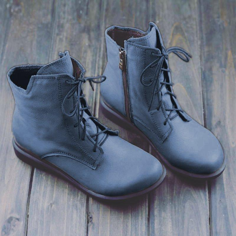 Comfy Flat Heel Artificial Leather Boots Lace Up Ankle Boots With Zipper