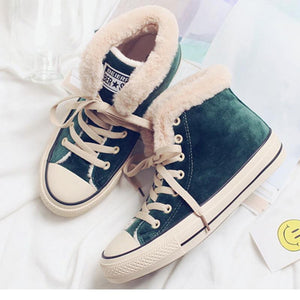 Winter Fur Lining Sporty Shoes Womens Platform Canvas Snow Sneakers