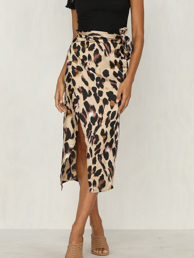 Women Fashion Leopard Print Bandage Slit Sexy Midi Skirt