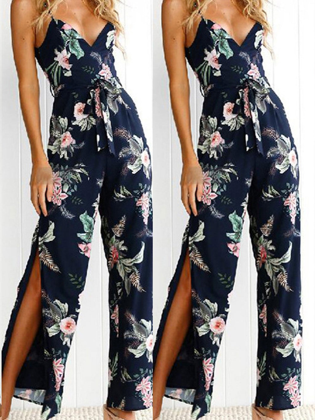 Floral Embroidery Spaghetti Strap Slit Sexy Jumpsuit