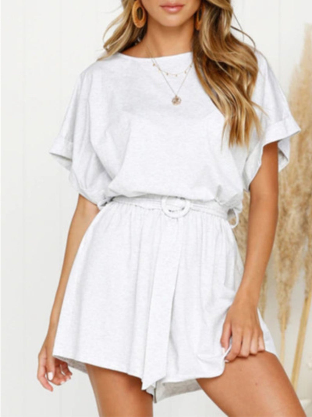 Fashion Solid Short Sleeve Belted Jumpsuit