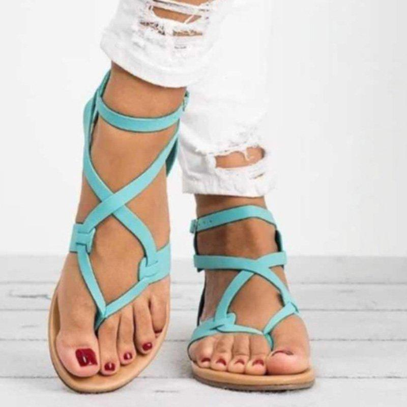 Flat Heel Adjustable Buckle PU Open Toe Women Sandals