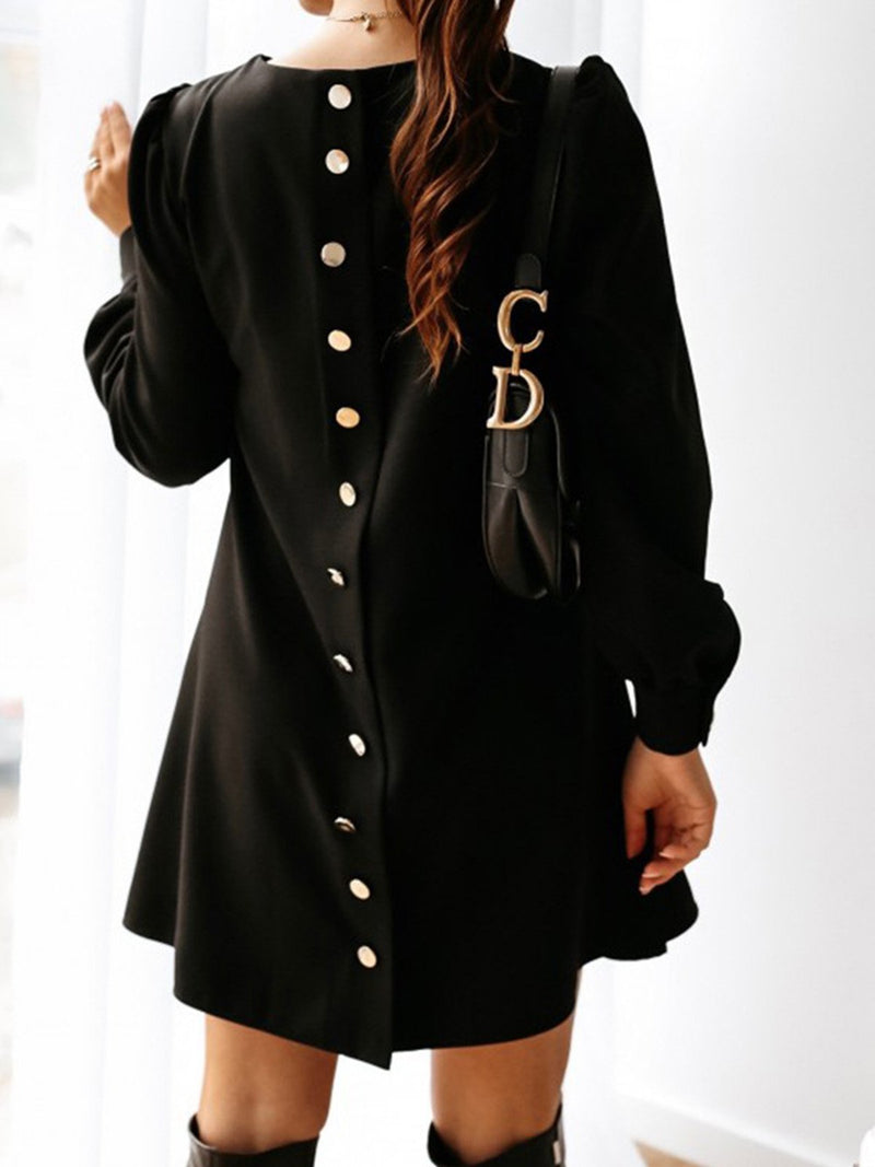 Long Sleeve Dress with Metal Buttons and Round Neck