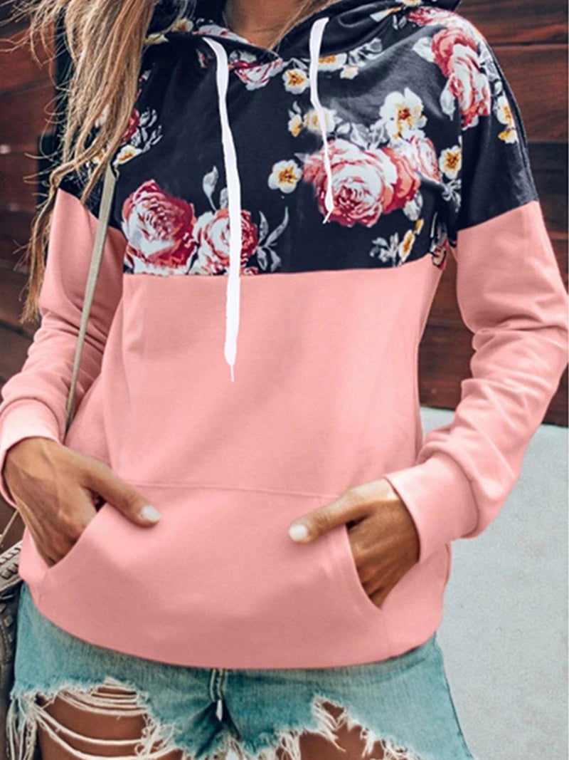 Loose Casual Hood Floral Top