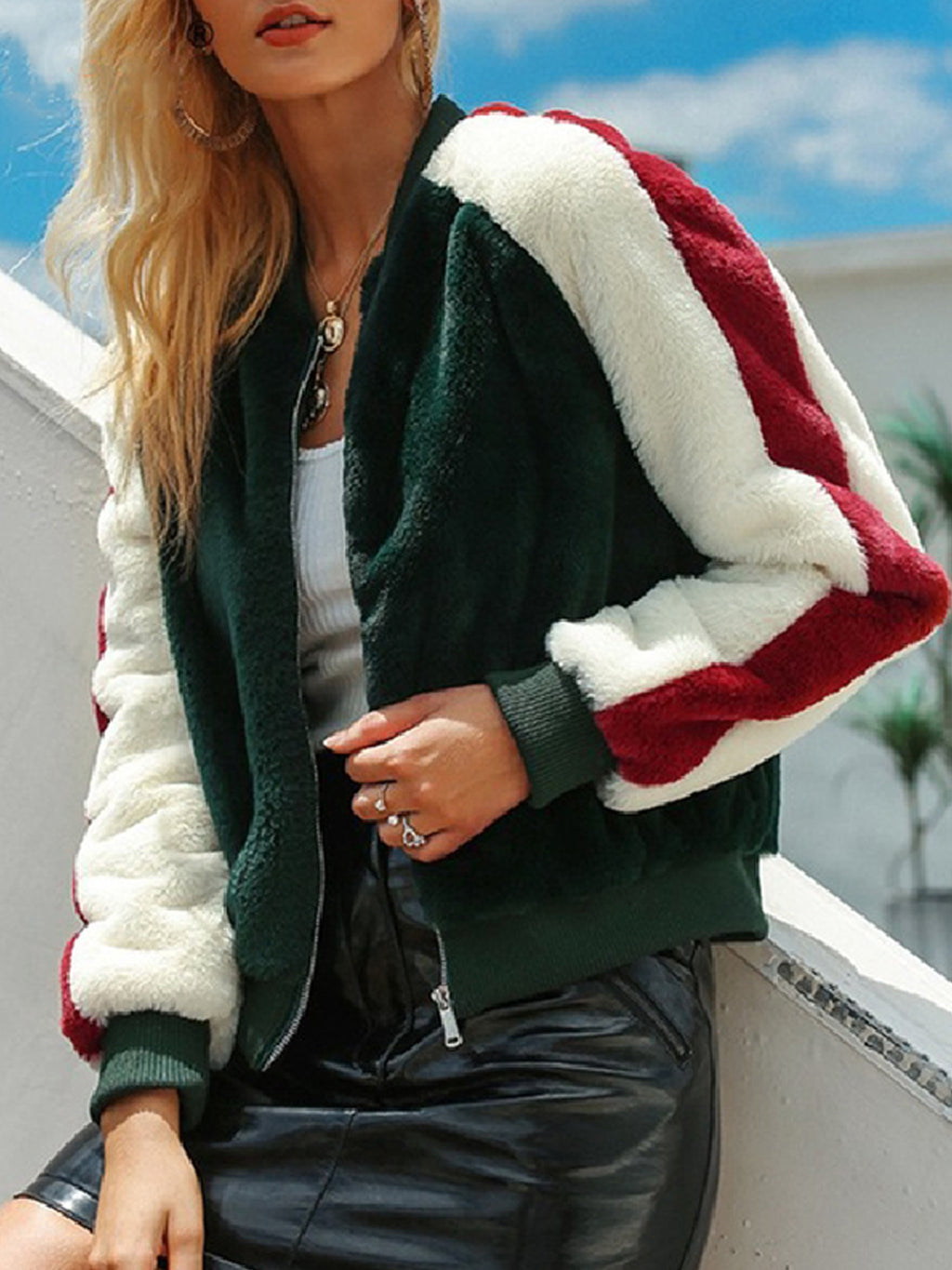 Green Women Fashion Simple Color Matching Plush Jacket Coat