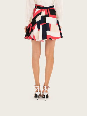 Belted A-line Bohemian Pink Geometry Mini Skirt
