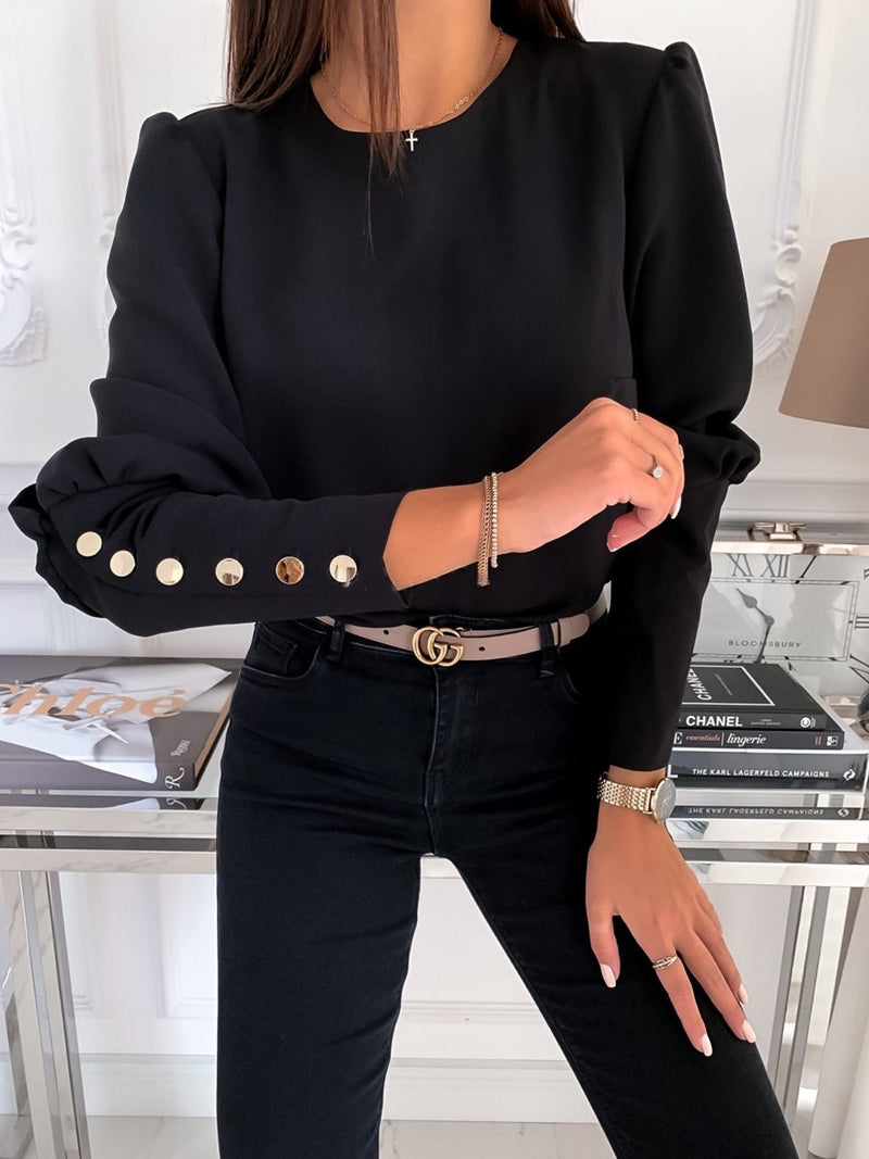 Long Sleeve Top with Metal Buttons and Round Neck