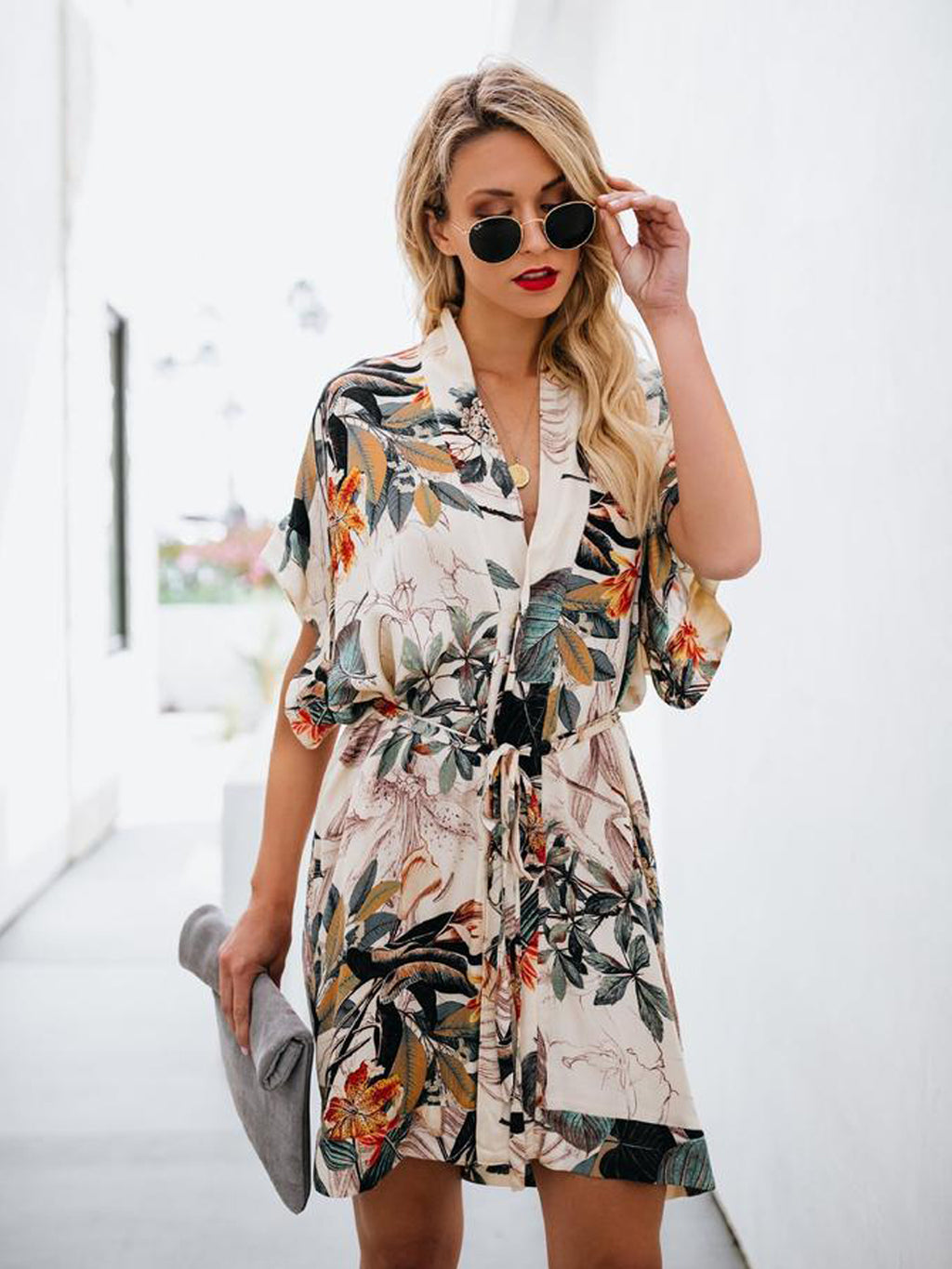 Botanical Print Self Belted Short Sleeve Summer Dress