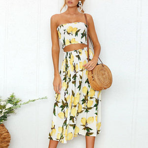 Yellow Sunflower Pattern two-piece Tube Top And Maxi Skirt Outfit