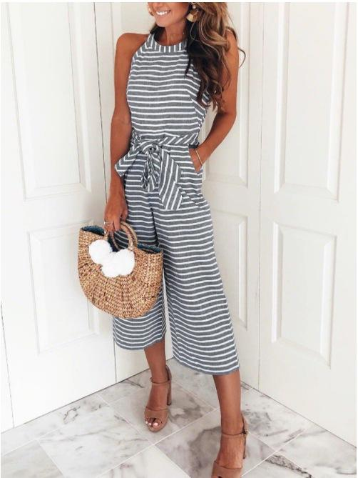 Round Neck Sleeveless Belted Wide-leg Stripe Jumpsuit