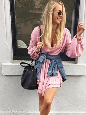 Deep V  Lace Up Loose Puff Sleeve Dress
