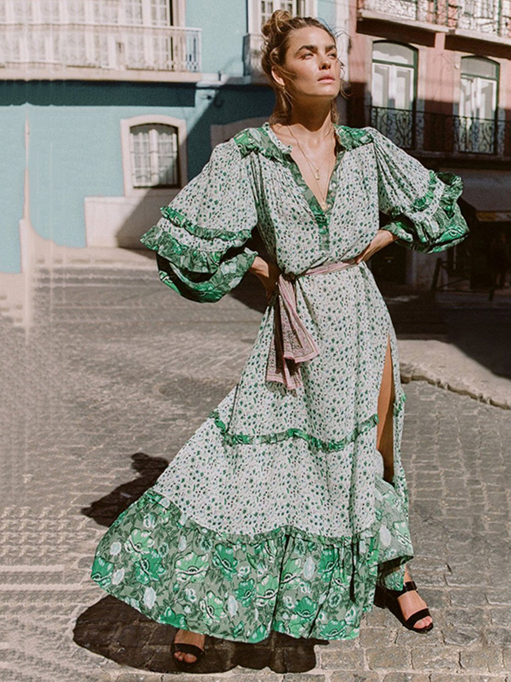 Chic Style Bohemian Floral Dress Slit Sleeves Maxi Dress