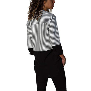 Simple Style Color Block Blouse Solid Striped Shirt