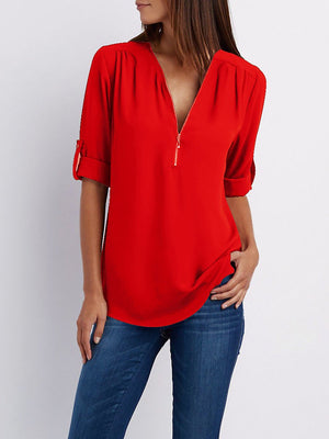 Solid V neck High Low Blouse Chiffon Half Sleeve T-shirts