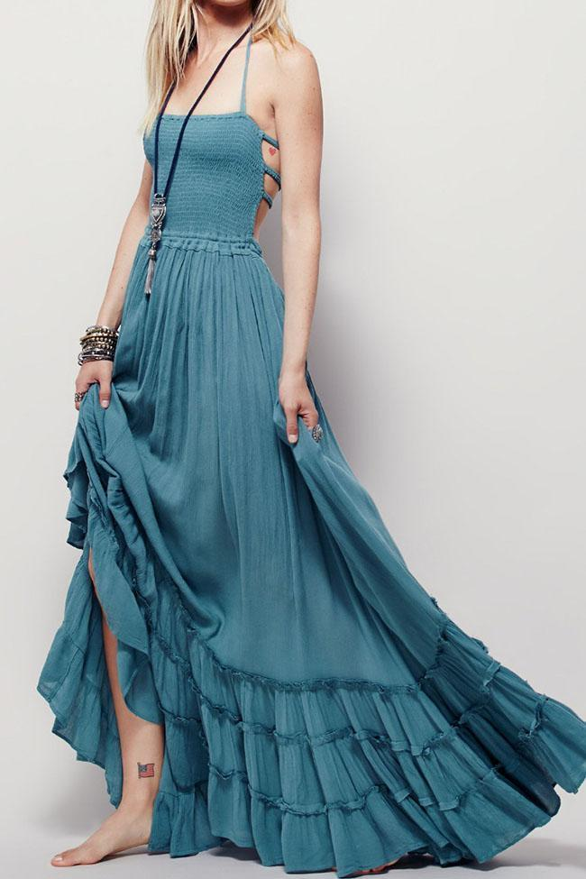 Women Sexy Halter Blue Dress Backless Maxi Dress