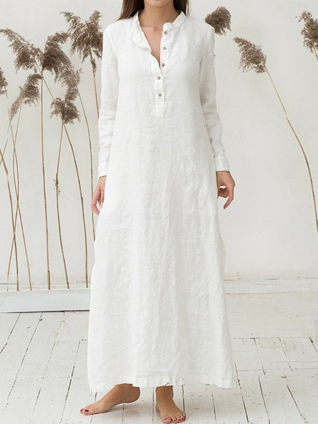 Simple Solid Long Dress Long Sleeve Plus Size Maxi Dress