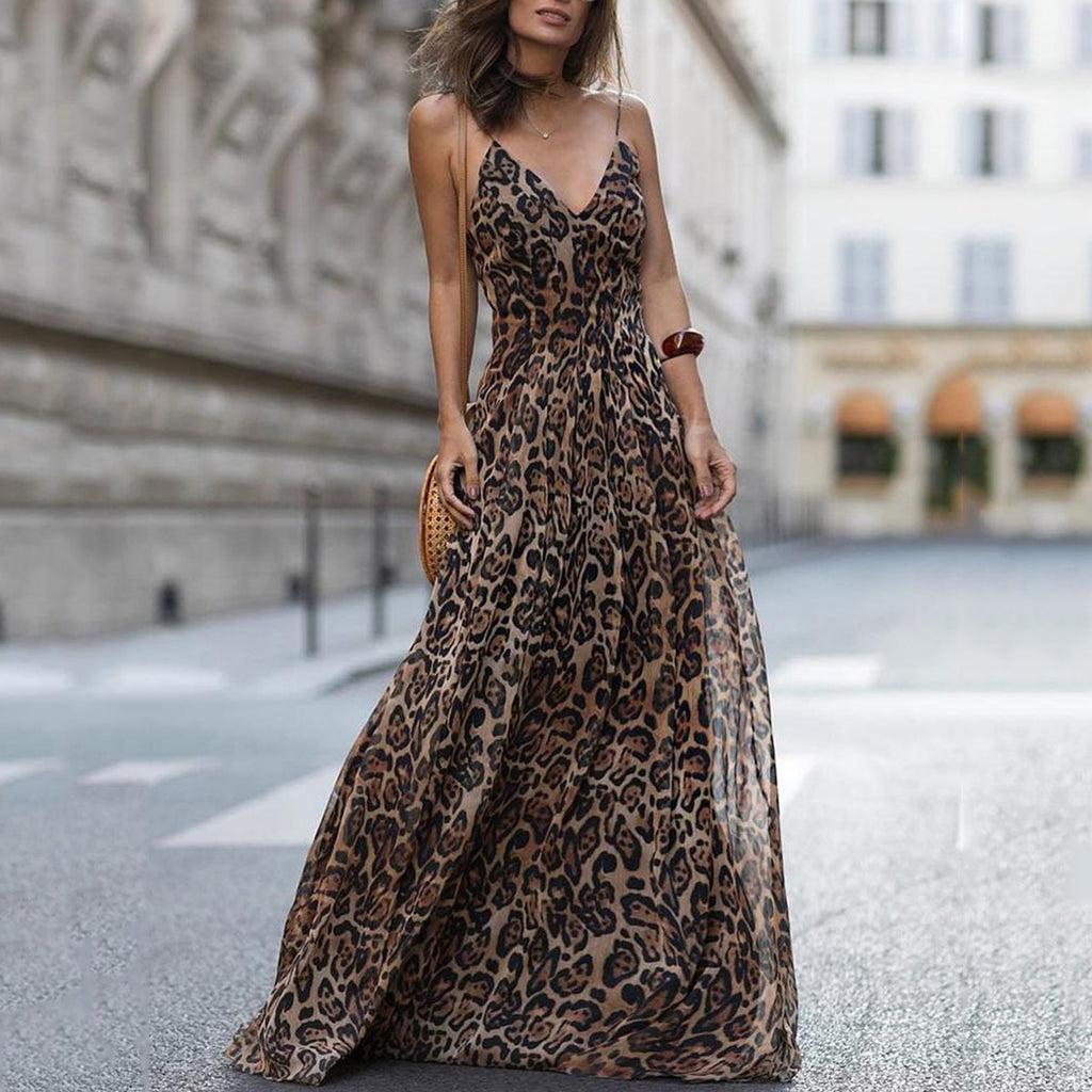 Sexy Leopard Print Chicing Women Sleeveless Maxi Dress