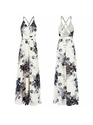 Stylish Women Floral Wrap Up Front Backless Maxi Dress
