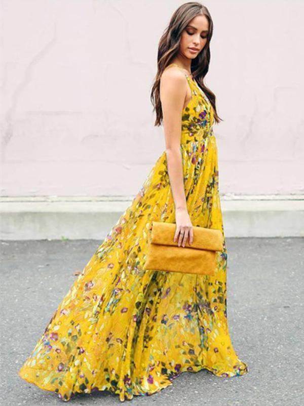 Chic Bohemia Floral Beach Dress V Neck Backless Maxi Dress