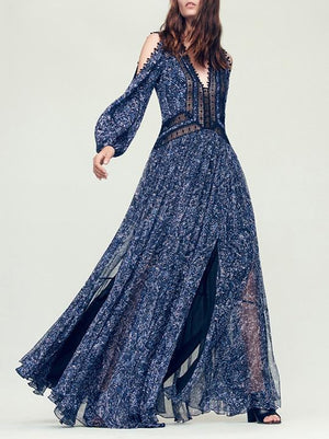 Stylish Women Fashion Blue Dress Puff Sleeves Off-the-shoulder Maxi Dress