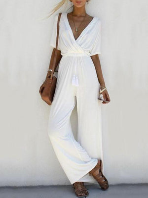 Solid Color V-neck Women Bottoms Wide Leg Jumpsuits