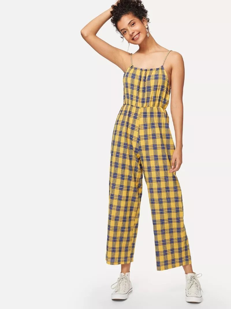 Ginger Yellow Plaid Cami Jumpsuit