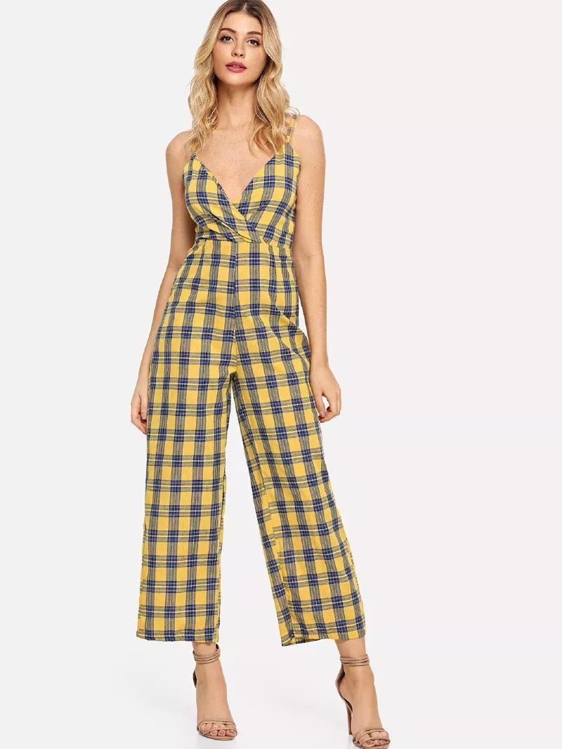 Fashion Deep-V-Plaid Cami Wrap Wide Leg Romper