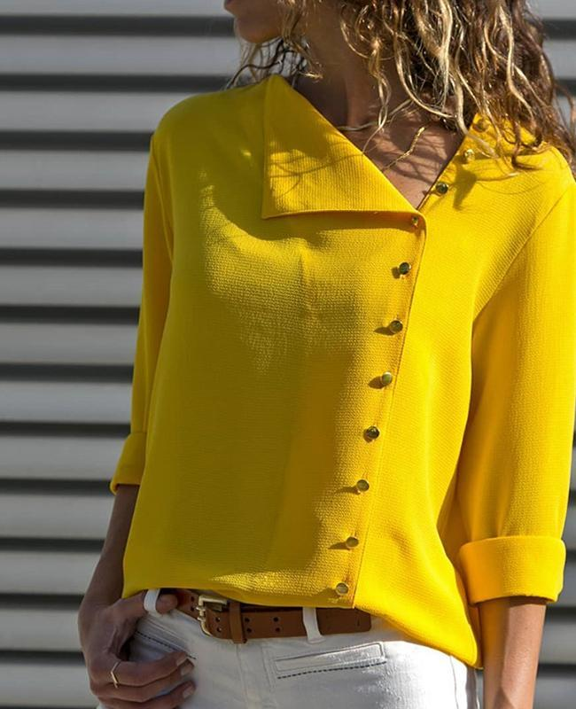 Bright Yellow Irregular Scoop Collar Irregular Button Design Blouse