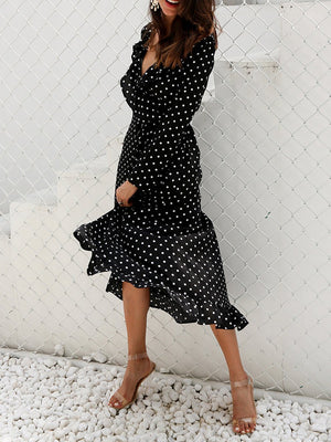 Vintage Surplice Neck A-line Dress Long Sleeve Polka Dots Dress