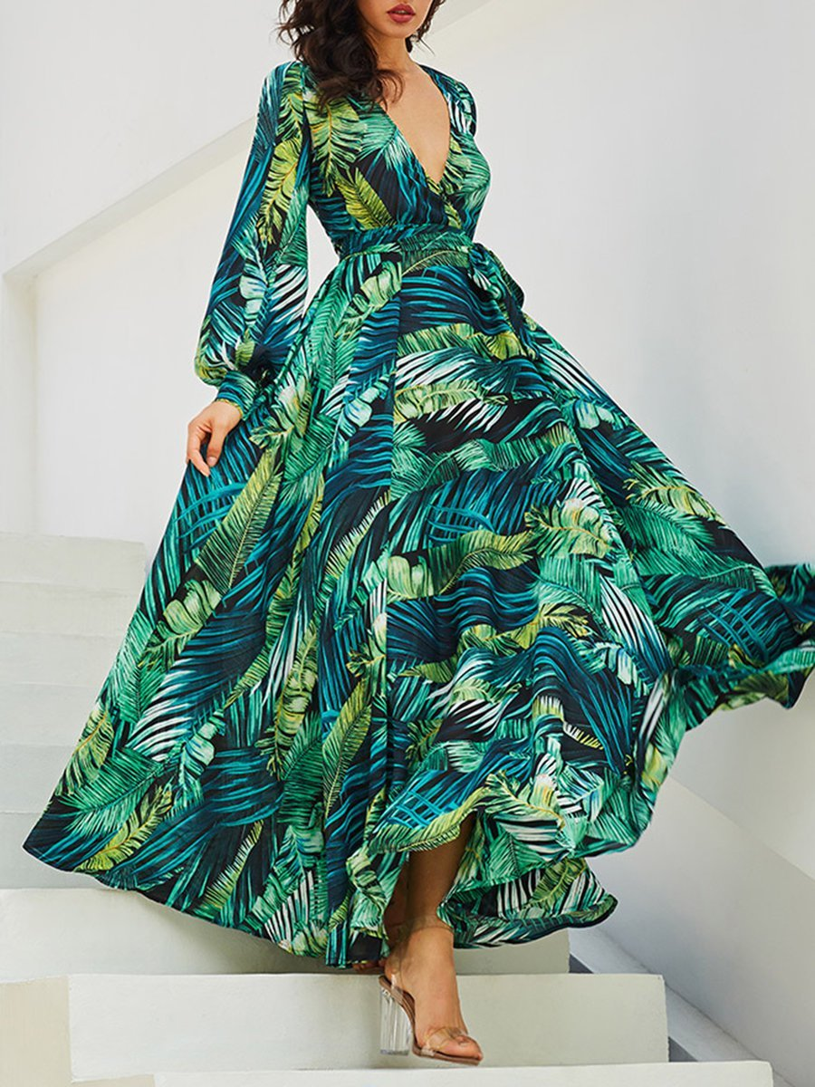 Sexy V-neck Swing Beach Printed Leaf Maxi Dress