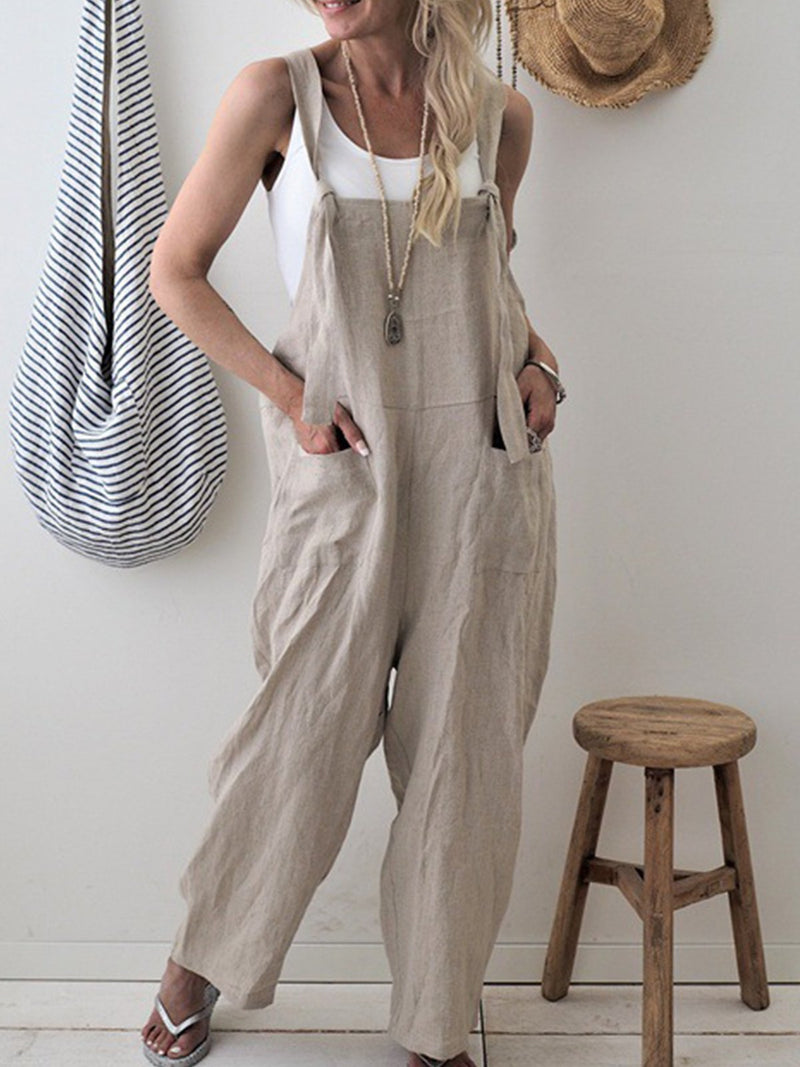 Casual Plain Color Plus Size Pockets Overalls