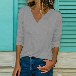 Slim Casual Stitching Women Top V-neck Shirt