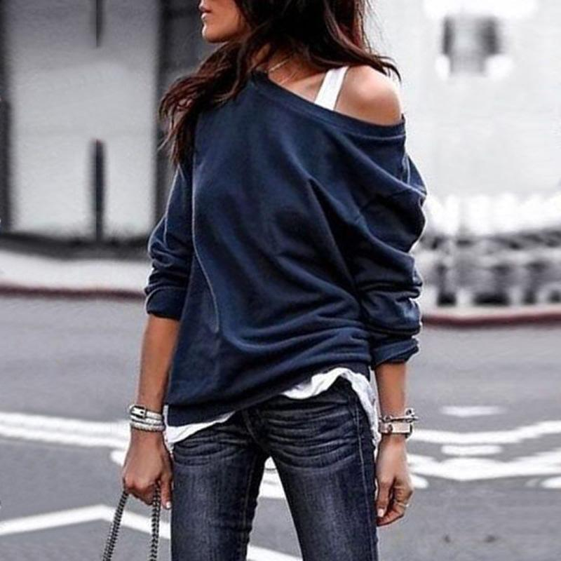 Winter Round Neck Solid Tops Off-shoulder Shirts